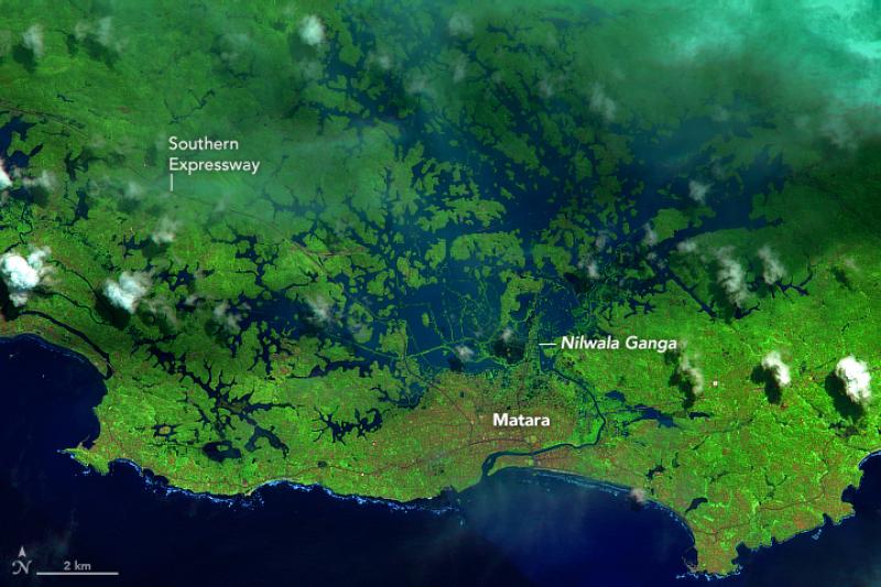 Zdjęcie satelitarne Sri Lanki z 28 maja (po powodzi), fot. ESA