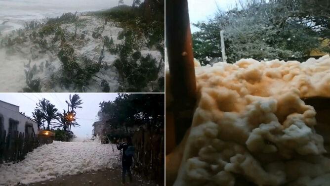 Morska piana pokryła małe portowe miasto w Meksyku