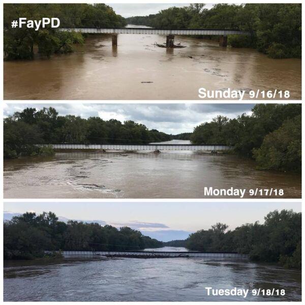 Porównanie poziomu wody w rzece Cape Fear w Fayetteville (źródło: Fayetteville Police Department)