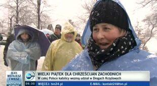 Śnieg w Kalwarii Zebrzydowskiej (TVN24)