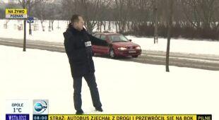 Ślisko na drogach Poznania (TVN24)